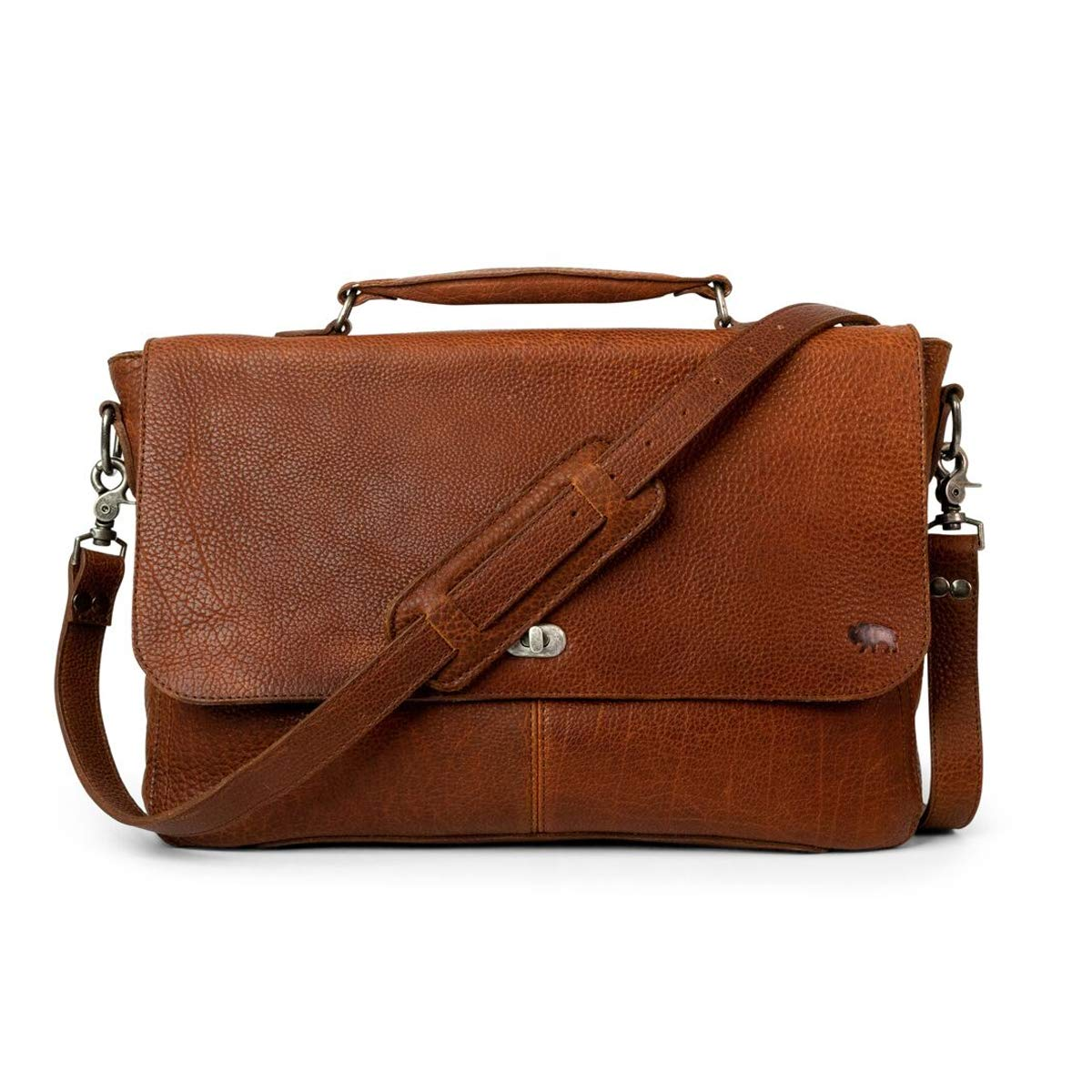 Full Grain Bison Leather Laptop Messenger Bag for Men   Ryder Reserve by Buffalo Jackson   Briefcase Fits 13'' 14'' 15'' Laptops   Made in North America   Brown
