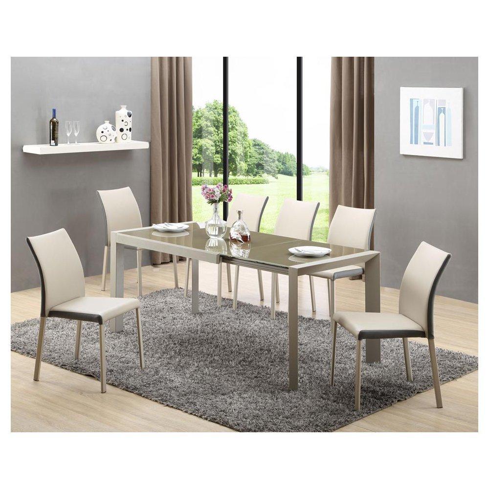 JUSThome Sitzgruppe Essgruppe Esszimmertisch Arabis aus Glas Braun + 6 Stühle K182