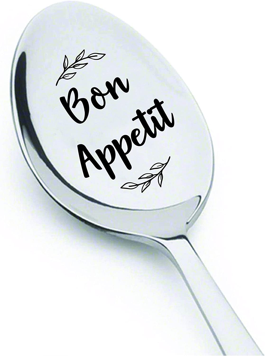 Gift for Friend | Bon Appetit Engraved Spoon for Foodie | Funny Teen Christmas Birthday Gift | Holiday Gift for Cousins/BFF | Food Lover Gift for Men Women - 7 Inch Stainless Steel Spoon