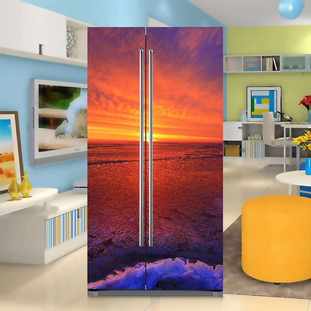 yazi Side-by-Side Refrigerator Full Door Cover Decal Vinyl Removable Sticker Kitchen Art Décor Sunset 20x71 inches by 2 Pieces