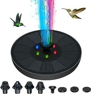 DoFida Solar Fountain for Bird Bath w/ Built-in 900mAh Battery 6 x LED Color Light Complimentary 7 Nozzle Heads 3Watt Solar Panel