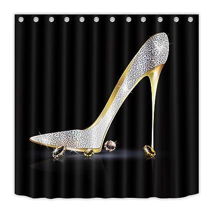 LB Diamonds Silver Gray High Heels Shoe Shower Curtain 72x72 Inch Modern Fashion Girl Black Bathroom