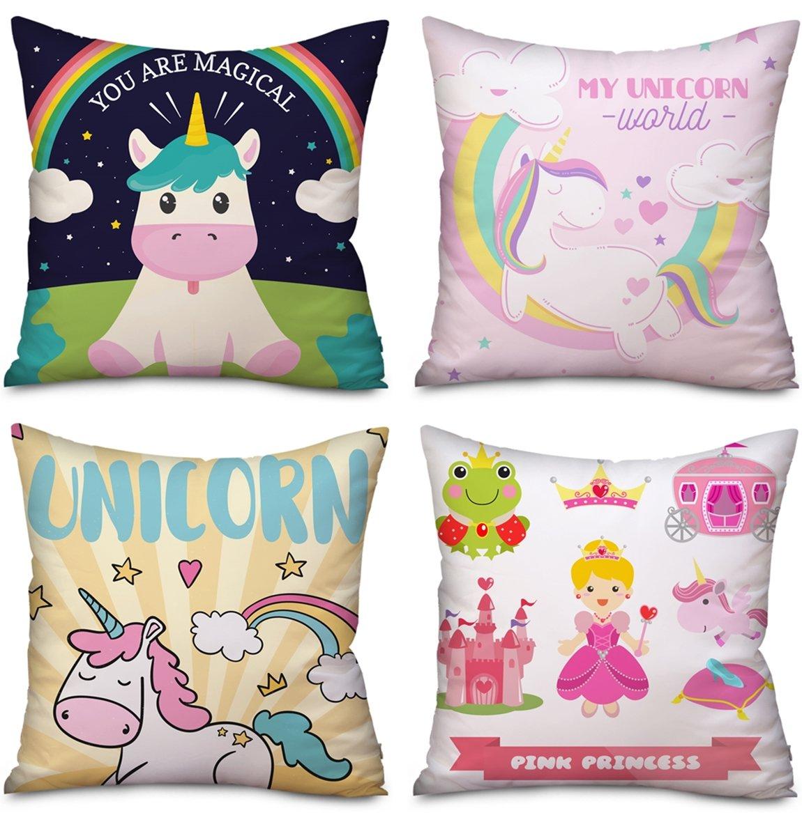 4 Pack Unicorn funda de almohada fundas de cojín decoración ...