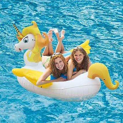 Flotador Juguete Hinchable para Piscina, Leeron Flotador Gigante de Unicornio Colchonetas Flotante para Playa, Anillo de la Natación, Silla de la ...
