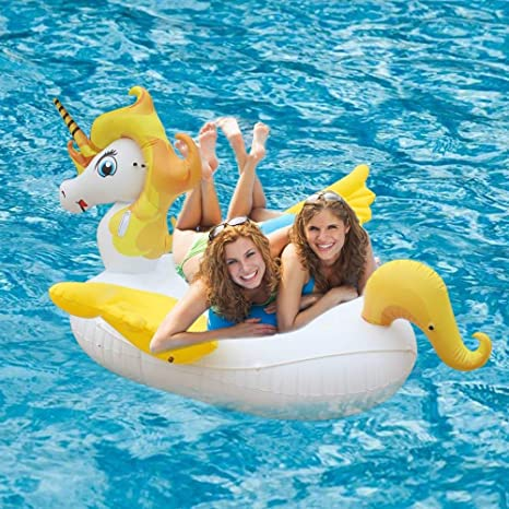 Flotador Juguete Hinchable para Piscina, Leeron Flotador Gigante de Unicornio Colchonetas Flotante para Playa,