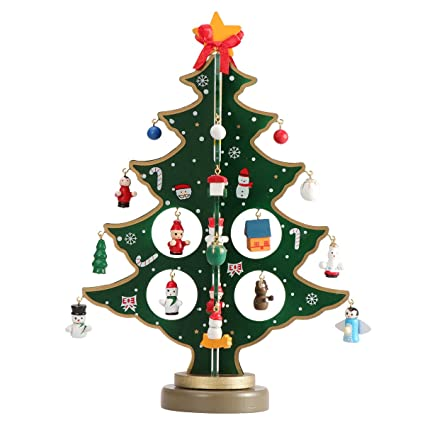 tinksky miniature christmas ornaments wooden mini christmas tree desktop tabletop decoration arts and crafts centerpiece kids