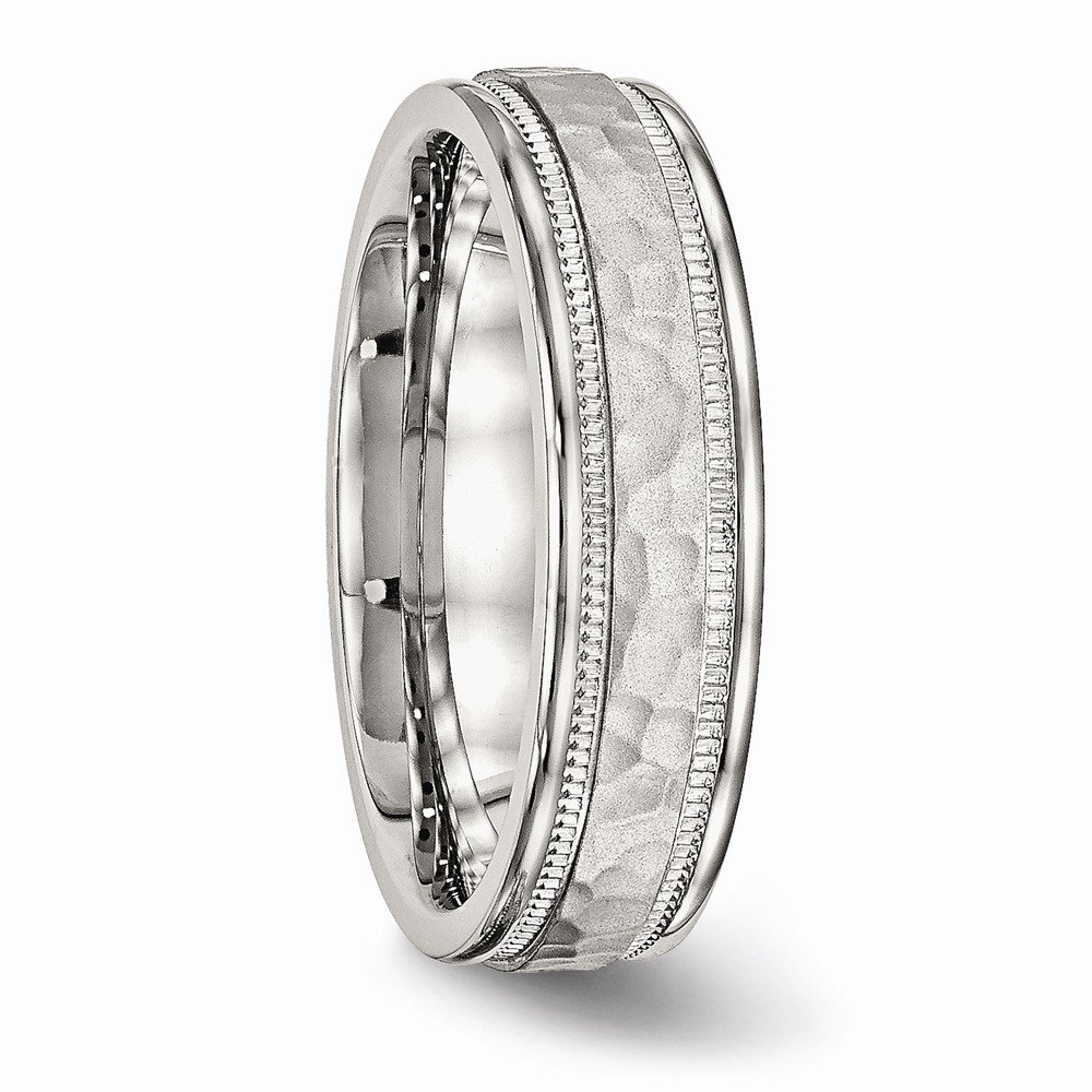 Bridal Wedding Bands Decorative Bands Stainless Steel Polished Hammered and Grooved 6.00mm Band Size 11.5