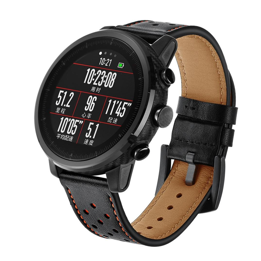 Zolimx Cuero Genuino Reloj Elegante Banda Pulsera Correas para Huami Amazfit Stratos Smart Watch 2/2S (Negro)