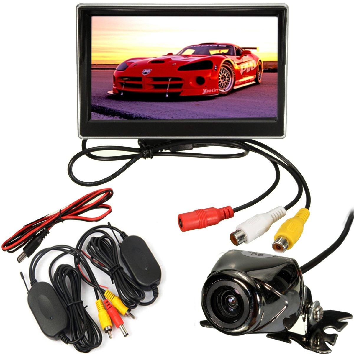 5インチLCDモニターミラーとワイヤレスIR逆車リアビューバックアップカメラキット B075Z368DR
