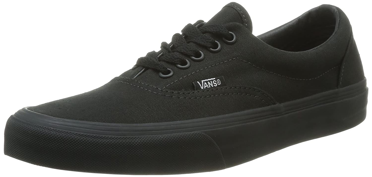 Vans Unisex Era Skate Shoes, Classic Low-Top Lace-up Style in Durable Double-Stitched Canvas and Original Waffle Outsole 6 B(M) US Women/ 4.5 D(M) US Men|Black/Black
