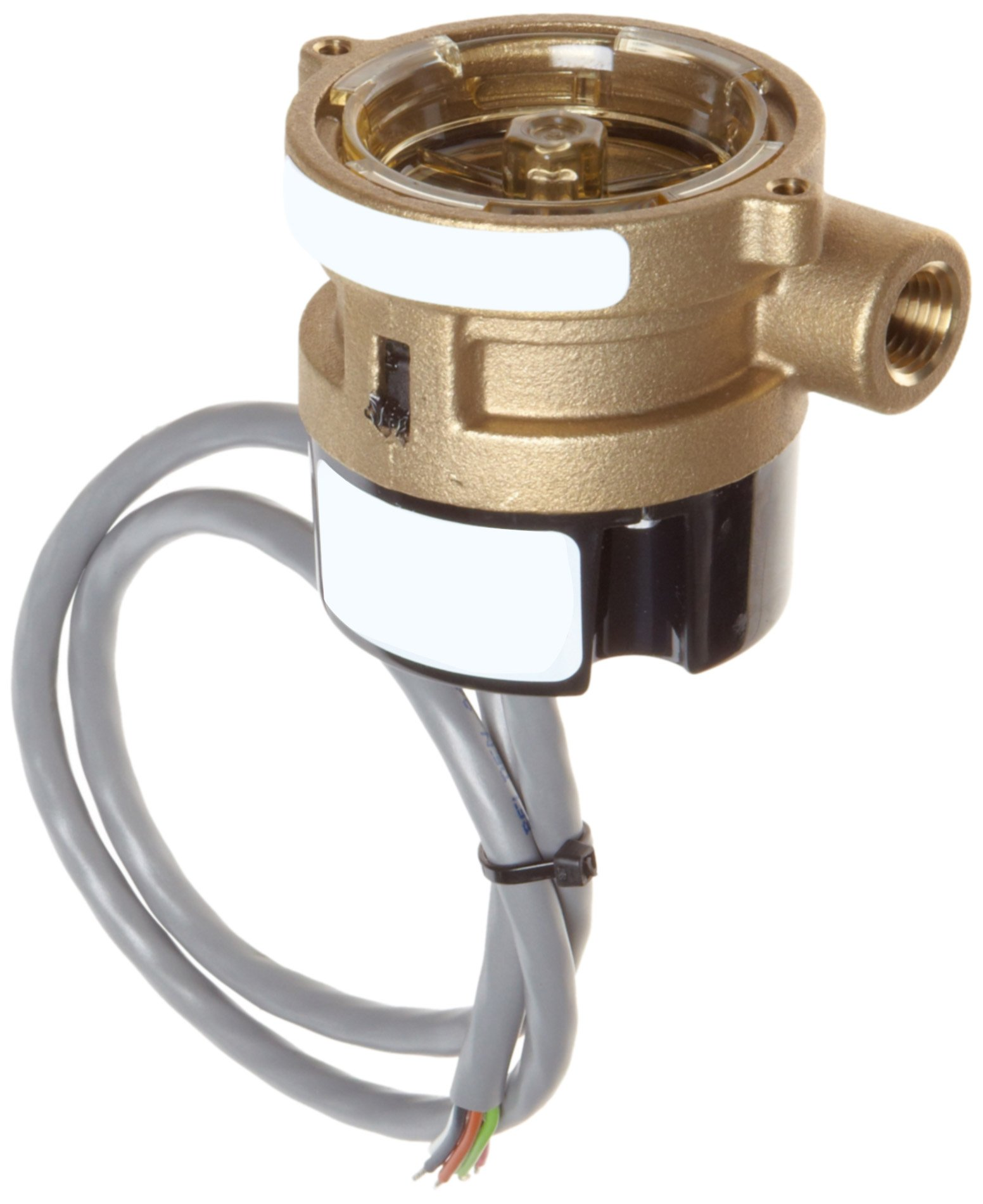 Gems Sensors RFS Series Brass Flow Sensor Switch, Inline, Rotor Type, 24 VDC Input, 0.1 - 5.0 gpm Flow Setting Adjustment Range, 1/4'' NPT Female