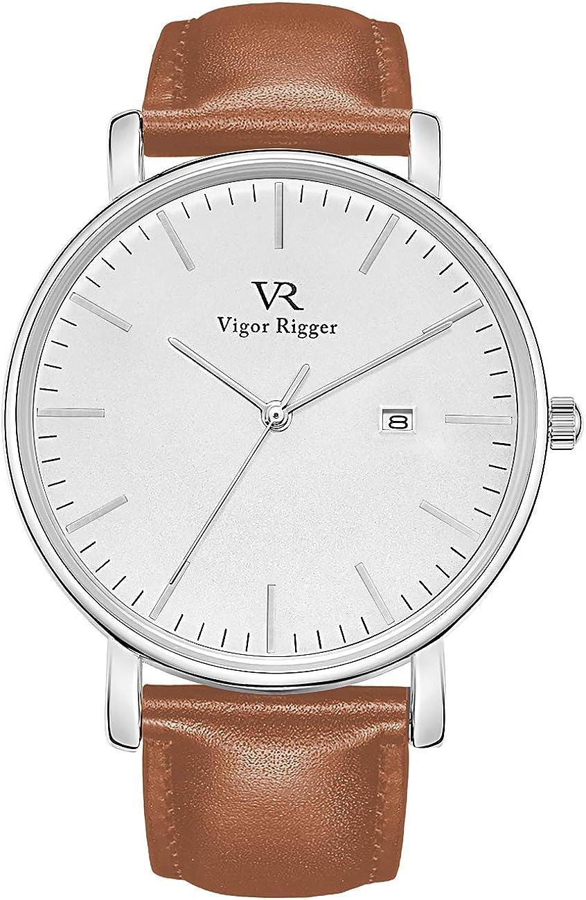 Vigor Rigger Hombres Mujeres Relojes Reloj de Pulsera Negro Ultra Delgado con Calendario de Fecha Banda de Malla/Correa de Cuero