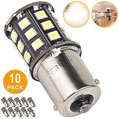 Super Bright 1156 1141 1003 LED Bulbs for Trailer Camper RV Interior Lighting, Car Back Up Reverse Lights, Brake Lights, Tail Lights, Rear Turn Signal Lights, (Pack of 10, 3500K Neutral White): Automotive