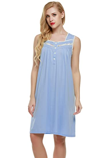 L amore Comfy Nightgowns Ladies Lounging Wear Sleep Gown Sleepshirts (Blue 5bf52ffca
