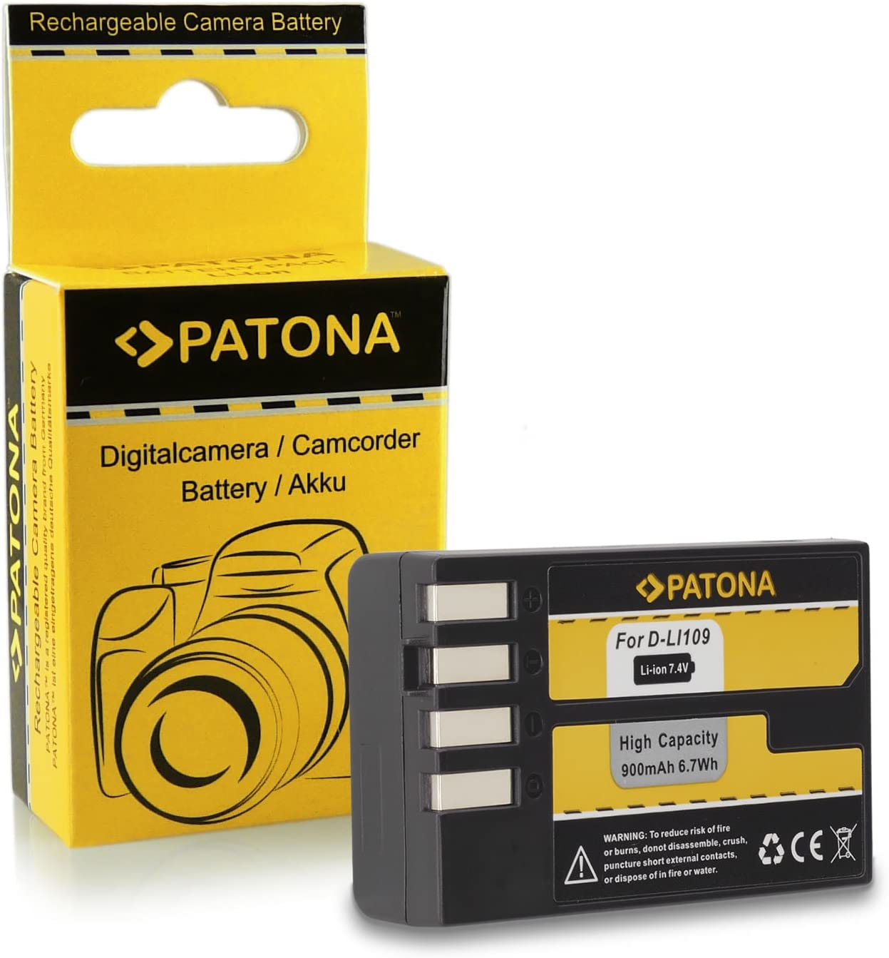 Batteria Patona per Pentax D-Li109,K30,K-50,K-500,K2,K-2,K-R,KR
