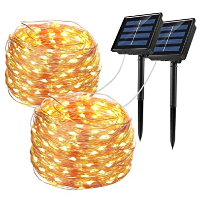 Bripower Solar String Lights Outdoor 100LED, 33Ft Waterproof Copper Wire String Lights 8 Modes, Decorative Fairy Lights for Party, Garden, Yard, Patio, Wedding, Christmas (Warm White, 2 Pack) : Garden & Outdoor