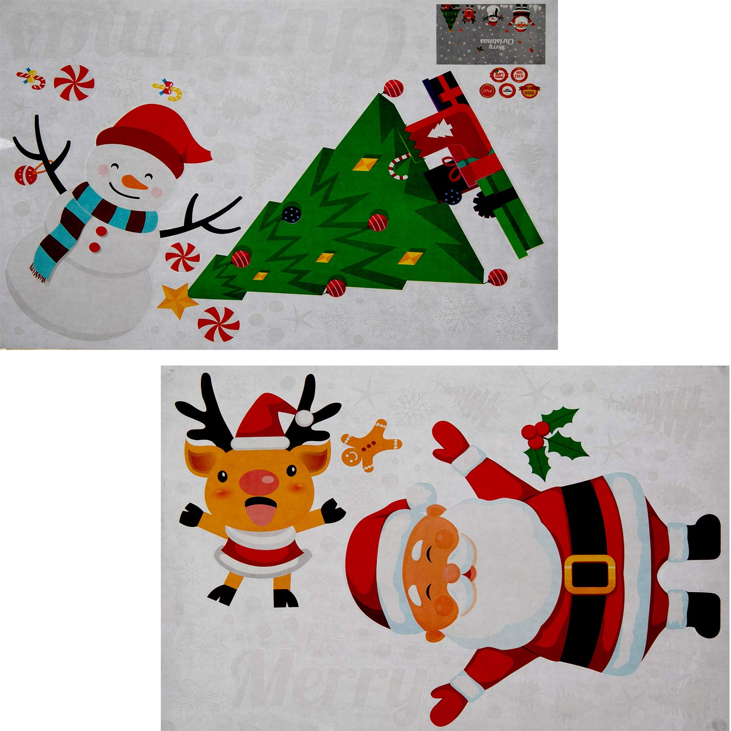 Xxfirst 80pcs holiday christmas gel clings santa claus tree snowmen snowflake christmas decorations window stickers