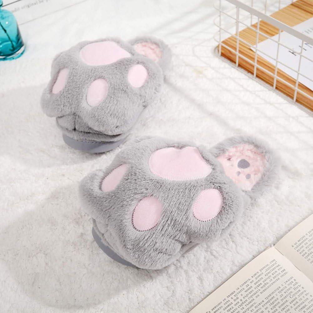 LUOEM Chaussons Animaux Peluche Coton Pantoufle Chat Femme Chaussons Patte Chauds Hiver Doux Antid/érapant Gris Clair