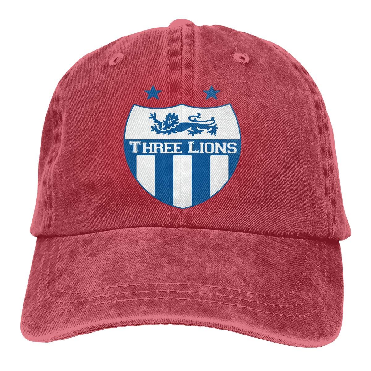 Three Lions Unisex Custom Jeans Outdoor Sports Hat Adjustable Baseball Cap