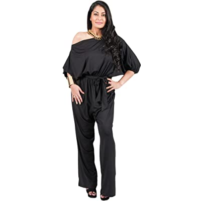 Adelyn & Vivian Plus Size Womens Sexy One Shoulder 3/4 Sleeve Evening Jumpsuit: Clothing