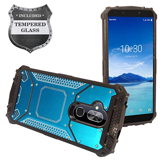 Alcatel 7 Phone 6062W, T-Mobile REVVL 2 Plus (2018), REVVL2 Plus 6062Z -  Aluminum Metal Hybrid Case + Tempered Glass Screen Protector - ZY1 Blue