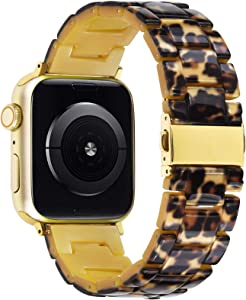 V-MORO Resin Strap Compatible with 40mm Apple Watch Bands 38mm Series 6/SE Women with Stainless Steel Buckle Bracelet Replacement for iWatch Series 5/4/3/2/1 Sport 38mm/40mm Leopard Print Girl