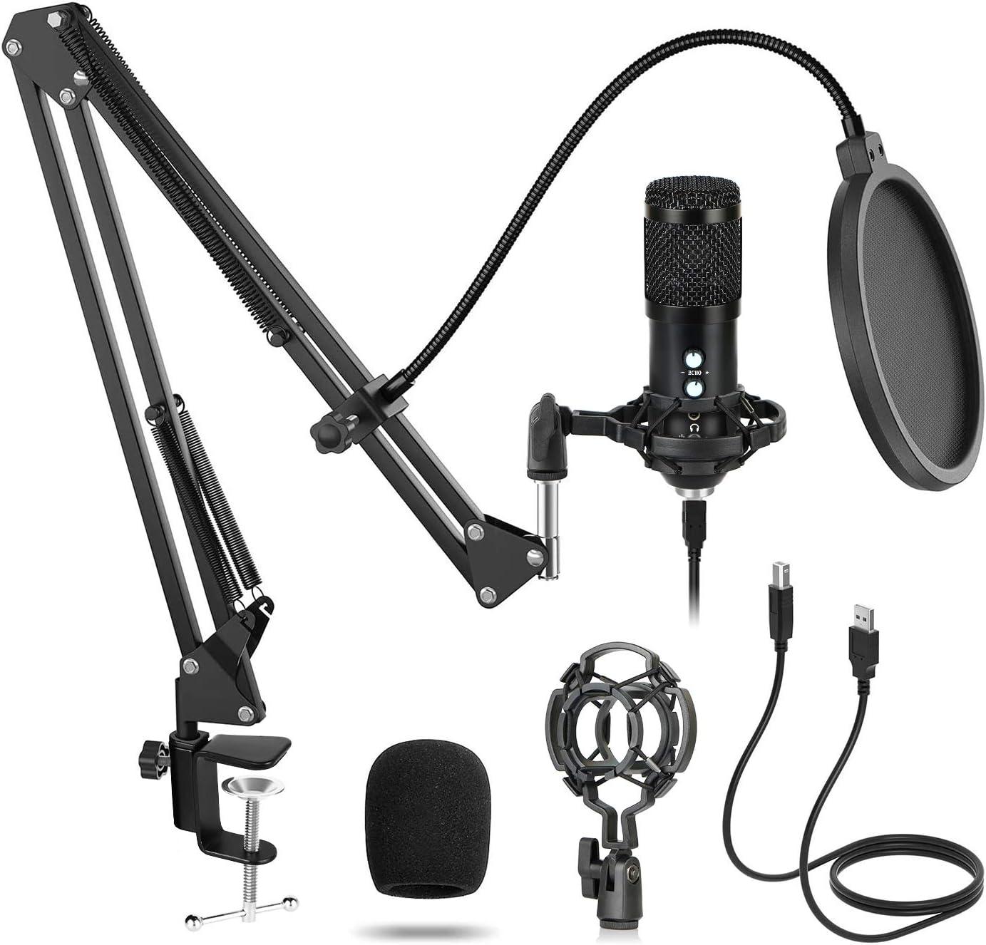 USB Micrófono de Condensador Grabación Kit 192KHz/24bit Plug and Play Cardioide Micrófono Sucastle para PCPodcast Estudio con Soporte de Micrófono Ajustable Montura de Choque y Filtro Anti-Pop Negro: Amazon.es: Instrumentos musicales