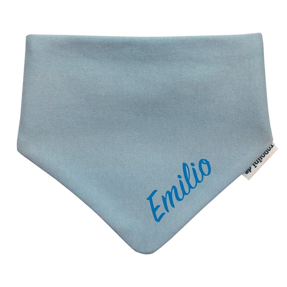 Baby Halstuch/Dreieckstuch Hellblau mit Name bestickt (Blau) Topolini.de