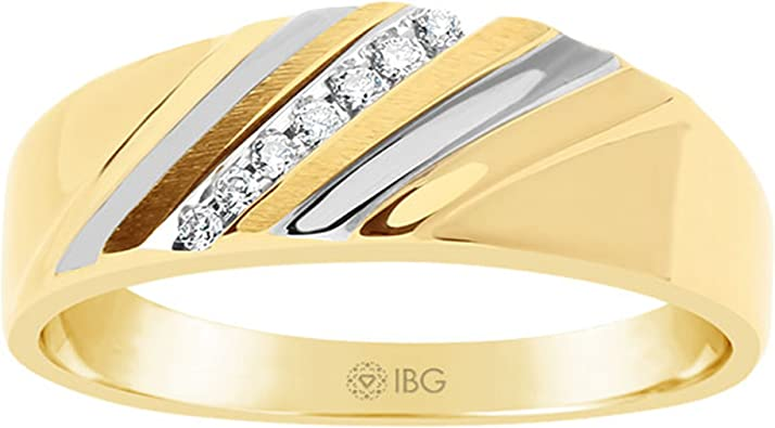 Amazon Com Ibg 10 Karat Yellow Gold Genuine Diamond Wedding Band Jewelry