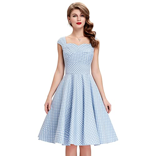 Belle Poque Womens 50s Vintage Floral Printed/Polka Dots Pleated Cross Bust Swing Dress