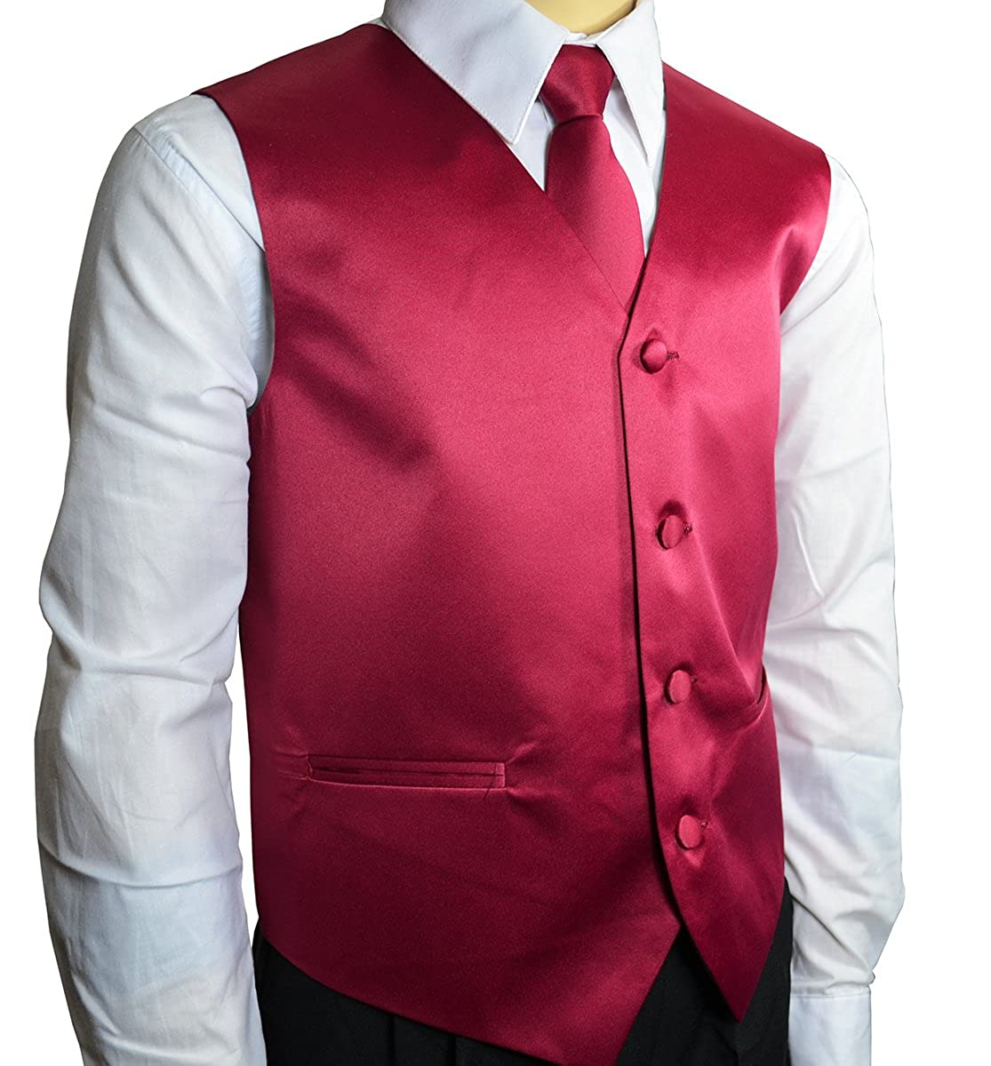 Solid Burgundy Boys Tuxedo Vest Set