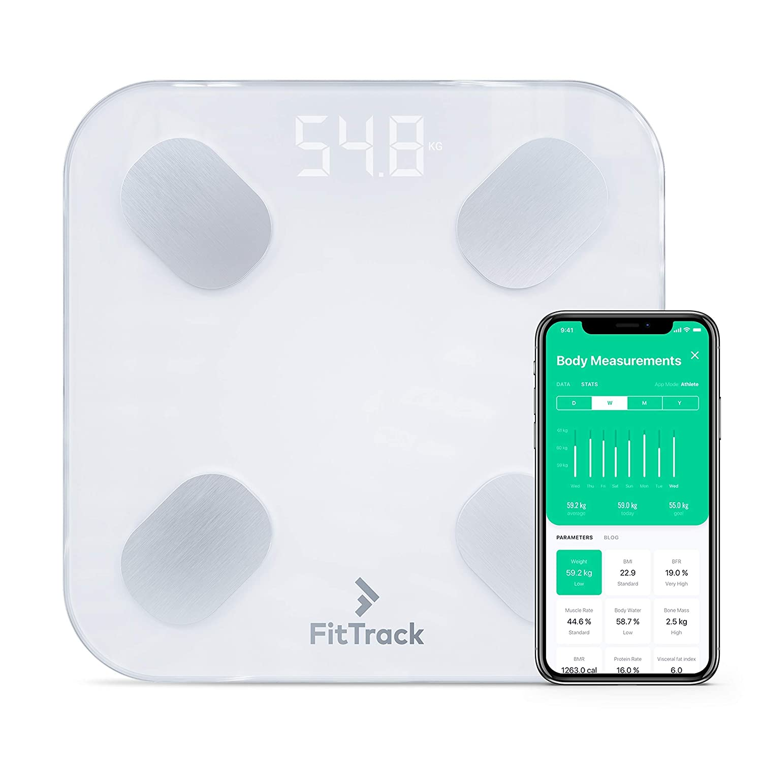 FitTrack Dara Smart BMI Digital Scale - Measure Weight and Body Fat - Most Accurate Bluetooth Glass Bathroom Scale: Health & Personal Care