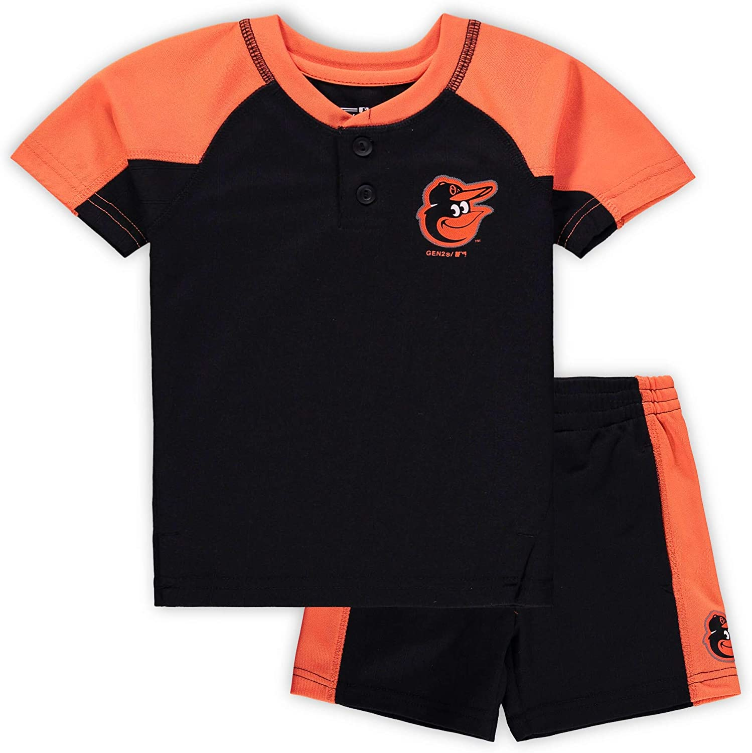 OuterStuff MLB Infants Toddler Play Strong Short Sleeve Henley Shirt /& Shorts Set