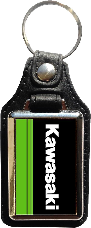 Porte-cl/és Acier//Simili Cuir Logo Kawasaki