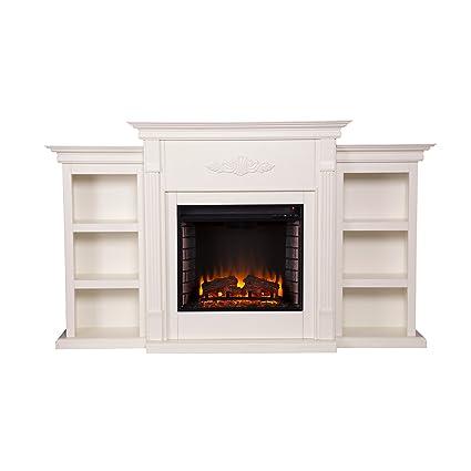 amazon com southern enterprises tennyson electric fireplace with rh amazon com electric fireplace bookshelves electric fireplace with bookcase mahogany