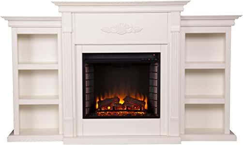 SEI Furniture Southern Enterprises Tennyson Electric Fireplace with Bookcase, Ivory Finish