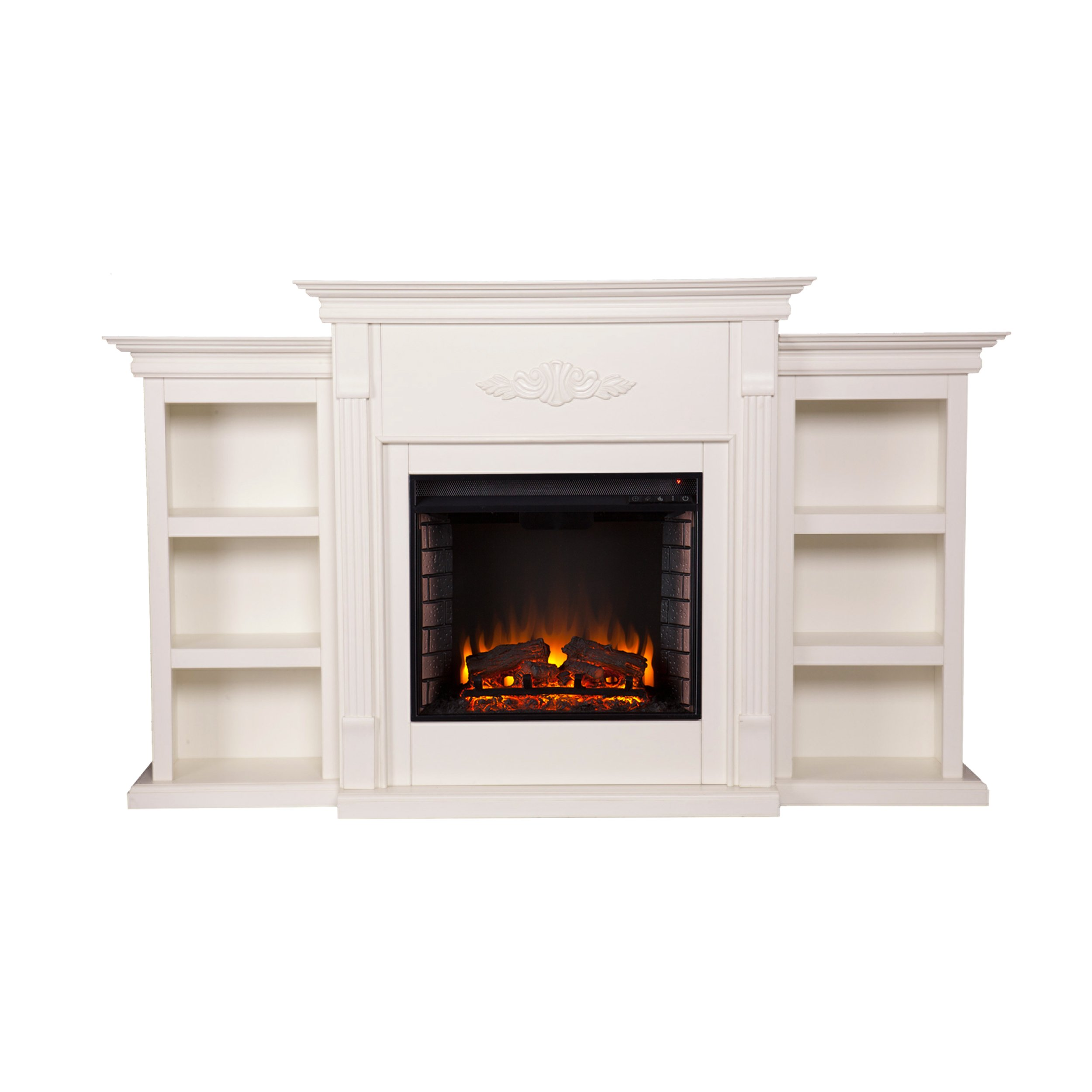Tennyson Electric Fireplace w/ Bookcases - Ivory by Southern Enterprises