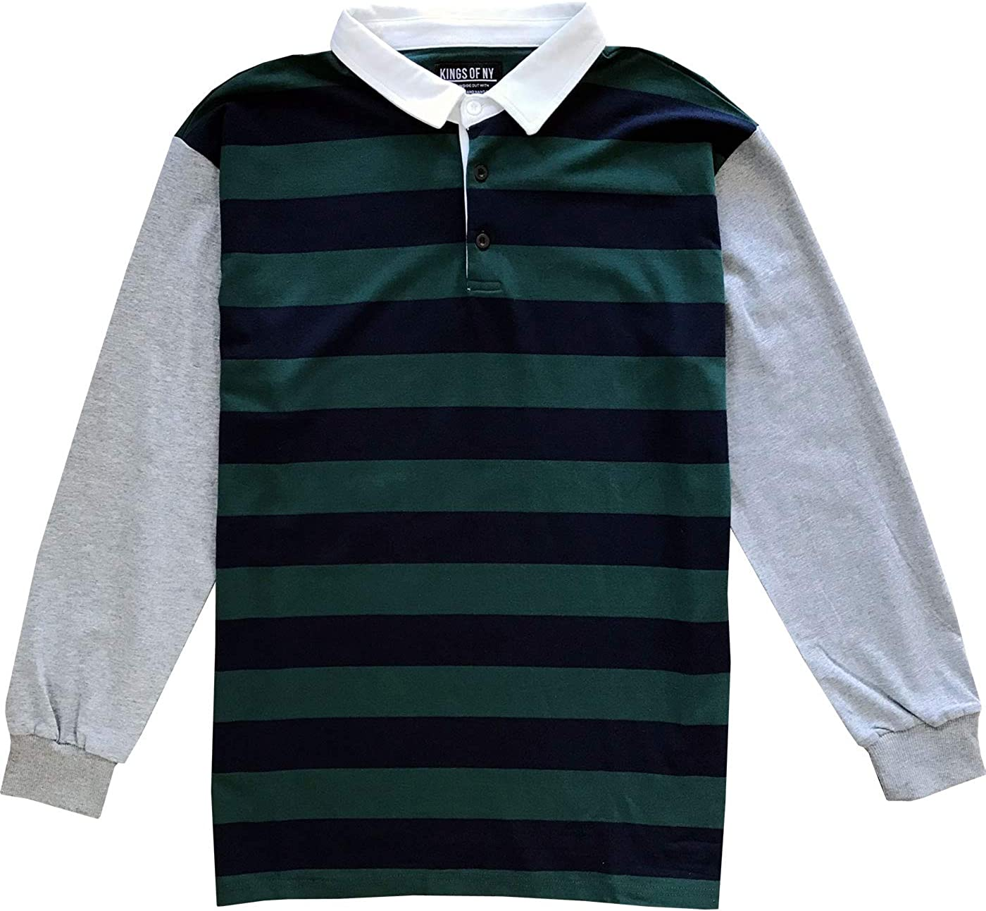 Kings Of NY Striped Color Block Mens Long Sleeve Polo Rugby Shirt