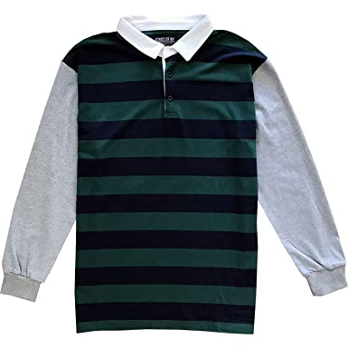 9f15ed0b0677e Kings Of NY Green Navy Blue Striped Mens Long Sleeve Polo Rugby Shirt Small  Green