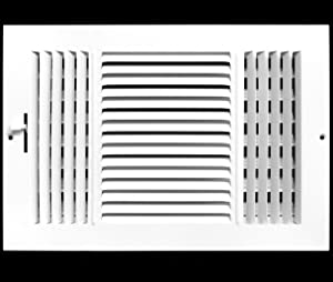 "12"" X 10"" 3-Way AIR Supply Grille - Vent Cover & Diffuser - Flat Stamped Face - White [Outer Dimensions: 13.75""w X 11.75""h]"