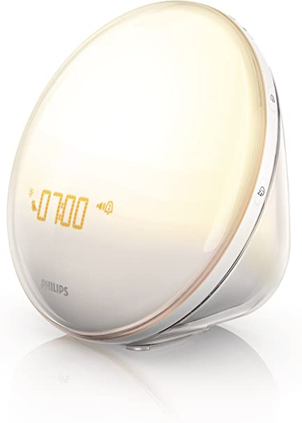 White Philips iPhone Controlled Wake-Up Light with Colored Sunrise Simulation