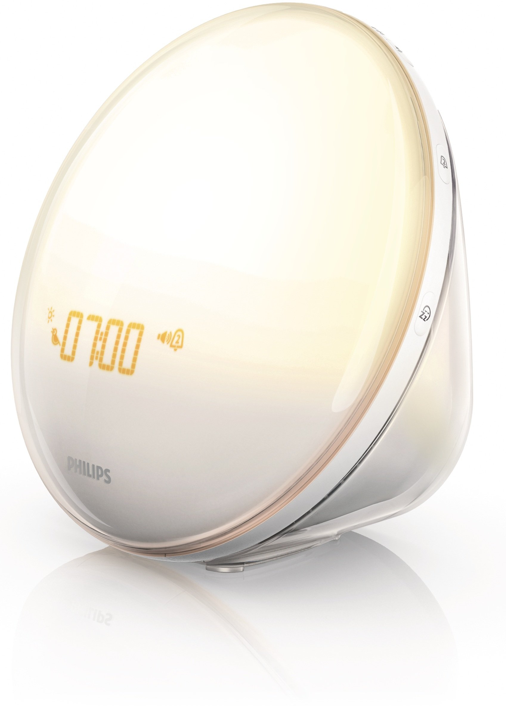 Philips Wake-Up Light Alarm Clock with Colored Sunrise Simulation and Sunset Fading Night Light, White (HF3520) by Philips