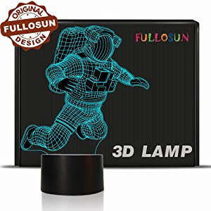 Spaceman 3D Night Light, Astronaut Rocket Optical Illusion Lamp Birthday Gift Idea for Outer Space Fan Xmas Valentine's Day Gift, Living Room Decor Night Light with 7 Colors Changing
