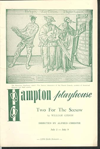 Two for the Seesaw Hampton playhouse program 7/2-7/9 1960 at ...