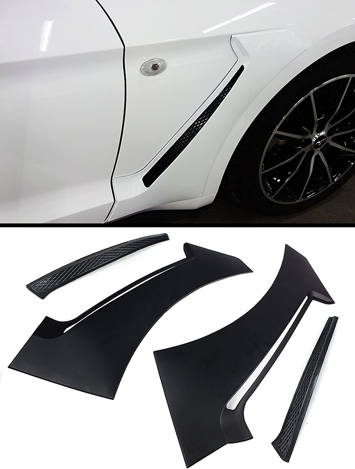 For 15-17 Ford Mustang GT350 Style Front Side Fender Door Scoops Black