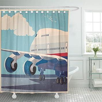 Amazon Emvency Shower Curtain Civil Aviation Modern Jet