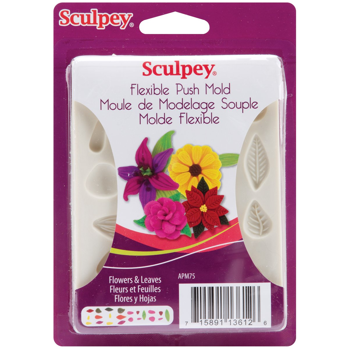 Sculpey Flexible Push Clay Mold, Flowers and Leaves Polyform Products APM75