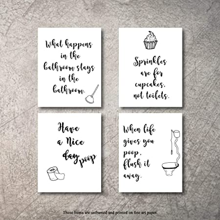 Amazon Com Funny Bathroom Wall Art Quotes Sayings Art Prints Set Of Four Photos Un Framed Perfect Bathroom Art Wall Decor Gift For Bathrooms Posters Prints