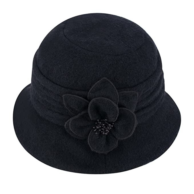 114376cb6006b4 Womens Gatsby 1920s Winter Wool Cap Beret Beanie Cloche Bucket Hat A299 ( Black)