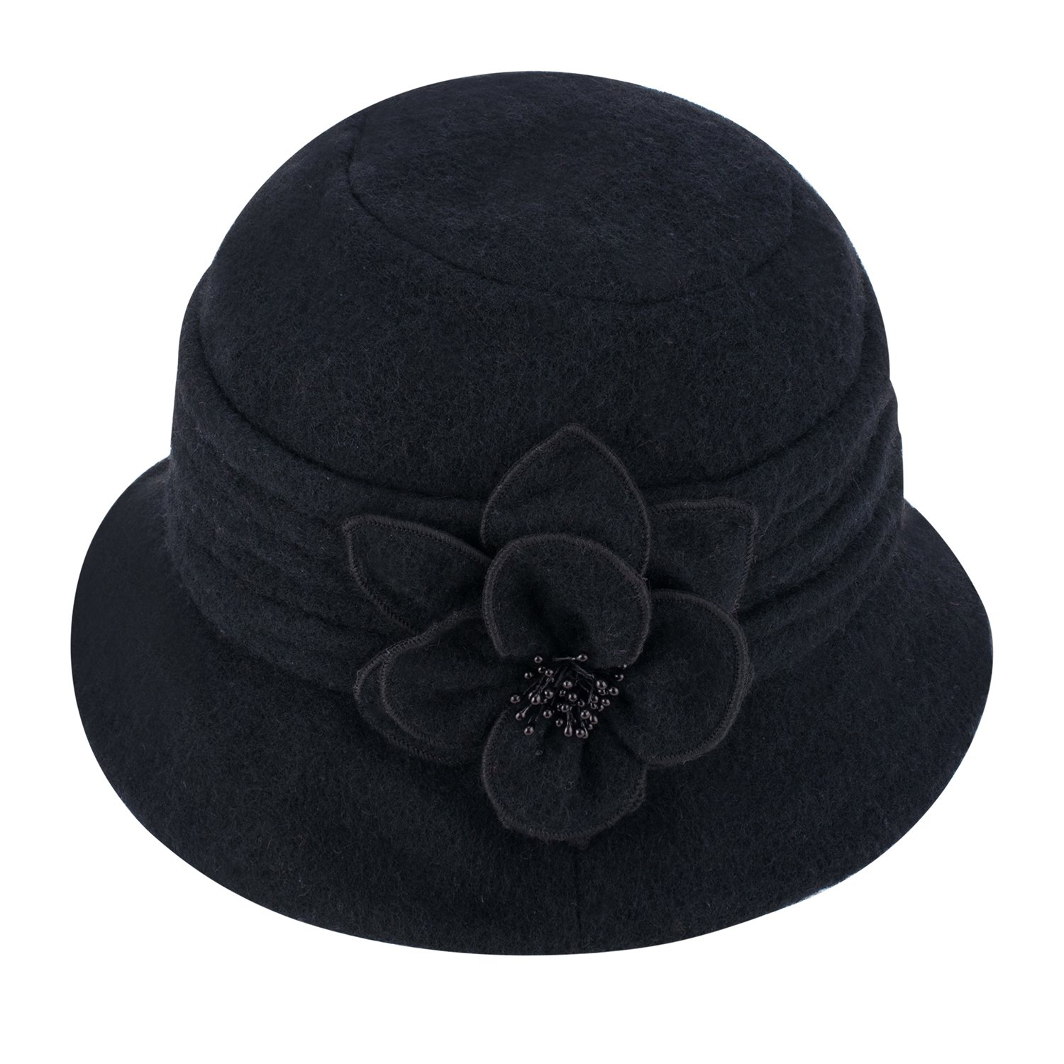Lawliet Womens Gatsby 1920s Winter Wool Cap Beret Beanie Cloche Bucket Hat A299 (Black)